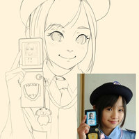 line art anime retrato