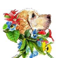 Perro y flores