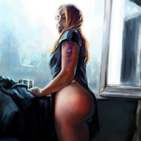 The girl standing by the window