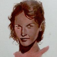 Estudio de rostro femenino en acrílico