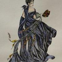 Nectar de ambrosia litografia iluminada con acuarela