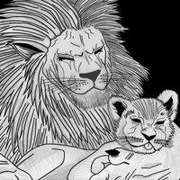 leones padre e hijo