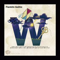 Concepto letra decorativa W fuente Franklin Gothic Bold