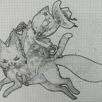 Un gato del lejano oeste montando un zorro