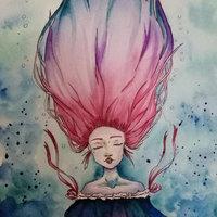 Pink hair | Acuarela