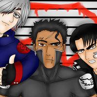 Rei con sus dos mejores amigos Kaz y Killao.