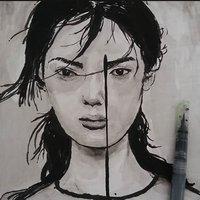 Retratos con tinta china