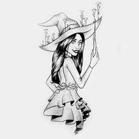 INKTOBER DAY 24 Cornflower witch