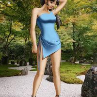 Sango con vestido azul