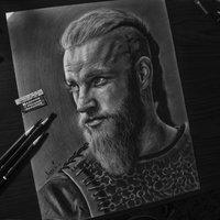 Ragnar Lodbrok a carboncillo.