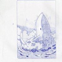 Salto de ballena,tinta azul.