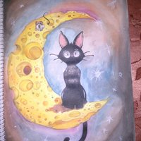 Black Cat in the Cheesse Moon