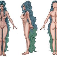 Diseño de diosa en tres vistas