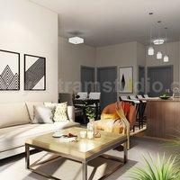 Cocina moderna Sala de estar Combo y baño decorativo Ideas de modelado de interiores