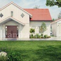 Servicios de representación exterior de granja moderna con diseño de paisaje de patio