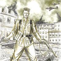 Soldado Alemán a Lápiz y prismacolor verde