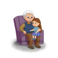 Abuelo y Nieta Conversando