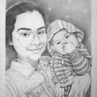 Chica y bebe - Grafito