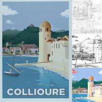 Ilustración vectorial para Ciudad Collioure Francia