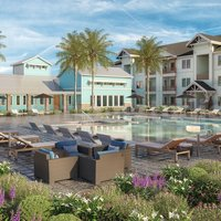 Comunidad exterior con vista a la piscina del patio con visualización arquitectónica