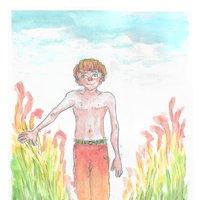 Ilustración con acuarelas // Campo en verano