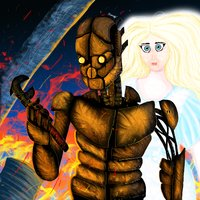 Robot steampunk and god