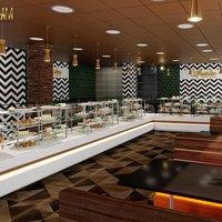 Moderno Mansha Sweet Center Diseño Por Yantram Studio