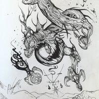 Dragón surrealista gótico en tinta