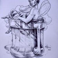 Hada relajada en una jarra