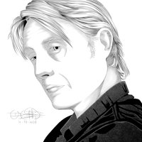 Retrato manga de Mads Mikkelsen