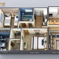 Plano de planta 3D de diseño moderno para casas pequeñas de Yantarm Studio