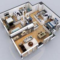 Plano residencial en 3D con edificio de apartamentos, Madrid - Español