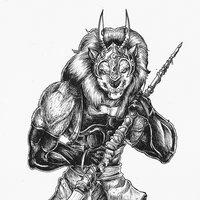 44 ava Comision: El leon musculoso con lanza