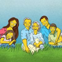 Familia al estilo de los dibujos simpson