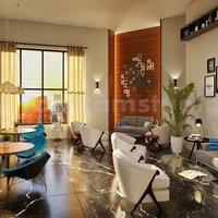 Concepto de salón restaurante y zona de espera de la firma de interiorismo 3d por est
