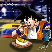 Goku Con una Cachapita Venezolana