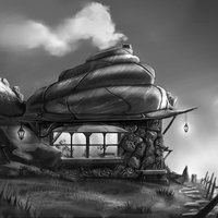 shell hut b&w
