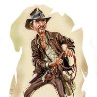 Boceto y caricatura Indiana Jones