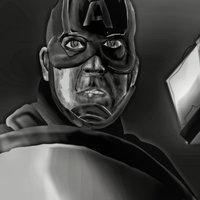 capitan americalevanta el mjolnir(dibujo digital)