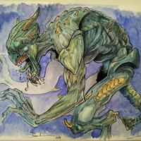 Monstruo acuarela (proceso)