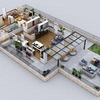 Diseño de plano de planta 3d diseñado, Ronda - España