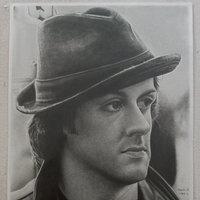 Retrato de sylvester stallone a lápiz