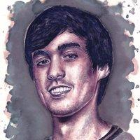 Retrato de Ander Cortés - Pintado con Vino