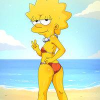 Lisa en la playa xd