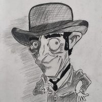 Caricatura a Lápiz, El hombre de sombrero.