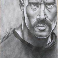 Dibujo a lápiz,  The Rock.