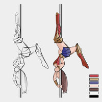 Illustration Pole Dance. WW.