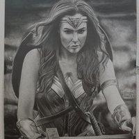 Dibujo a lápiz de la mujer maravilla