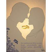 Tarjeta de felicitación para boda con las siluetas personalizadas.