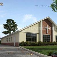 pequeño edificio arquitectónico de la iglesia de servicios de representación exterior